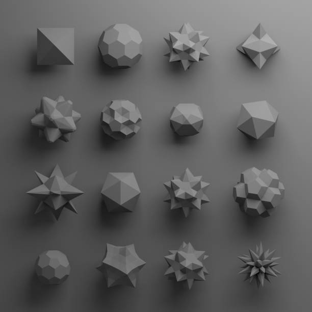 3d abstract geometrical shapes, glass grey beads, crystals, gems and jewels - triangolo forma bidimensionale foto e immagini stock