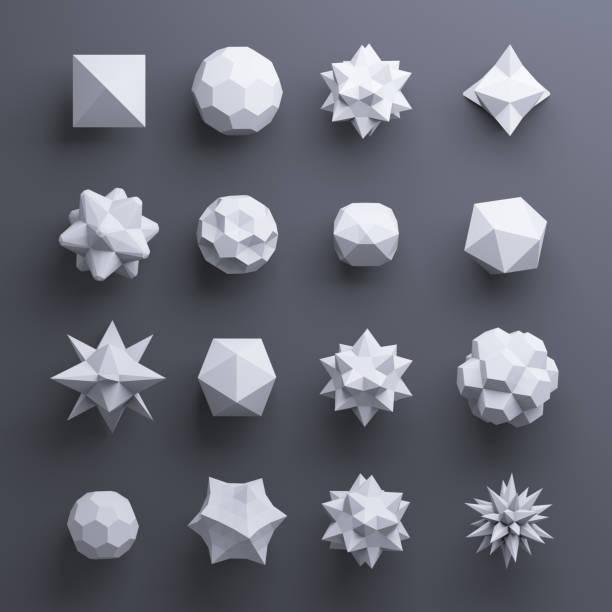 3d-abstracte geometrische vormen, grijze glasparels, kristallen, edelstenen en juwelen - veelvlakkig stockfoto's en -beelden