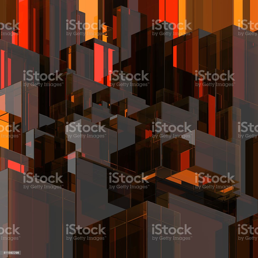 3d abstract glass background, modern red faceted structure stock photo
