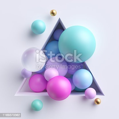 istock 3d abstract illustration, assorted pink blue pastel balls inside triangular niche isolated on white background 1169370362