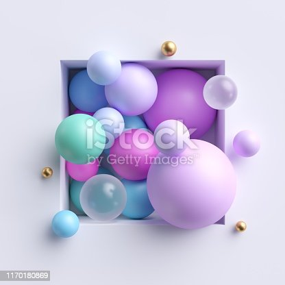 istock 3d abstract illustration, assorted pink blue pastel balls inside square niche isolated on white background 1170180869