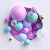 3d abstract illustration, assorted pink blue pastel balls inside round niche isolated on white background