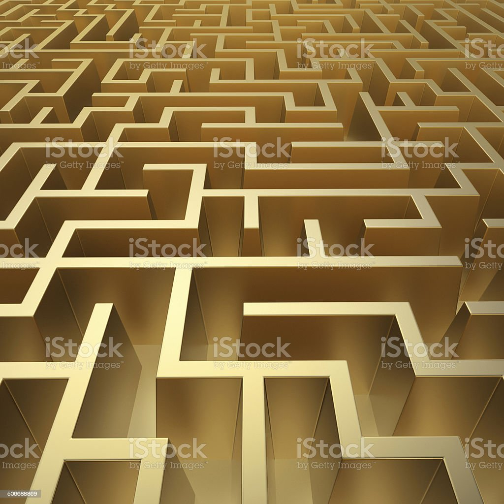 3d abstract labyrinth, golden maze background stock photo