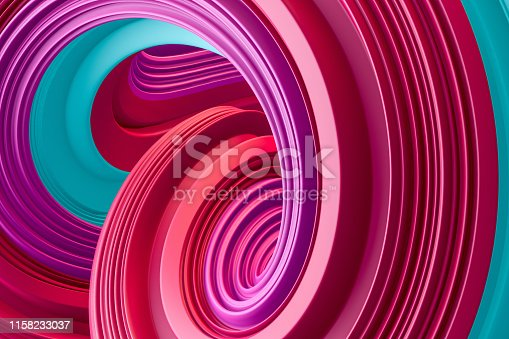 istock 3d abstract liquid twisted shape wavy background, Iridescent neon digital art 1158233037