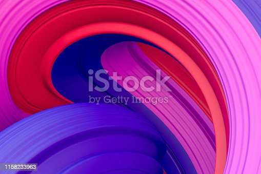 istock 3d abstract liquid twisted shape wavy background, Iridescent neon digital art 1158233963