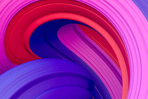 3d abstract liquid twisted shape wavy background, Iridescent neon digital art stock photo