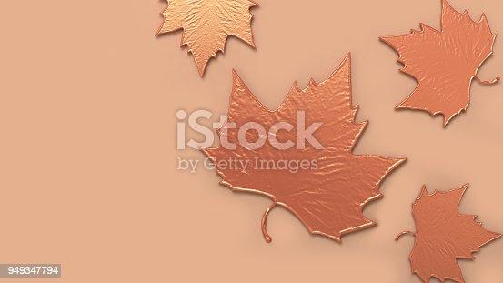 istock 3d abstract maple leaf orange metallic on orange background 3d rendering 949347794