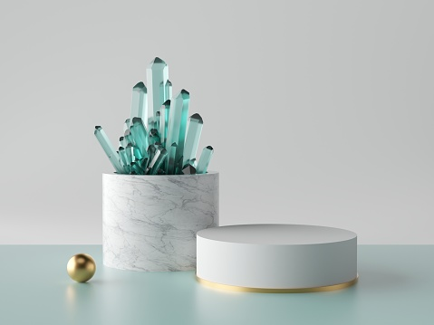 istock 3d abstract minimal background, aquamarine blue crystal nugget, marble cylinder pedestal, showcase podium, blank product display mockup, isolated objects, fashion concept, simple clean design 1169370695