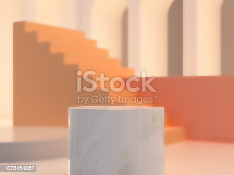 993080194 istock photo 3d abstract minimal background. Arch with a podium in pastel colors 1078454052