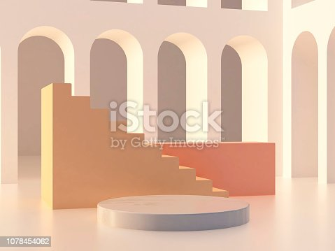 993080194 istock photo 3d abstract minimal background. Arch with a podium in pastel colors 1078454062