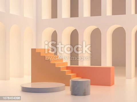 993080194 istock photo 3d abstract minimal background. Arch with a podium in pastel colors 1078454098