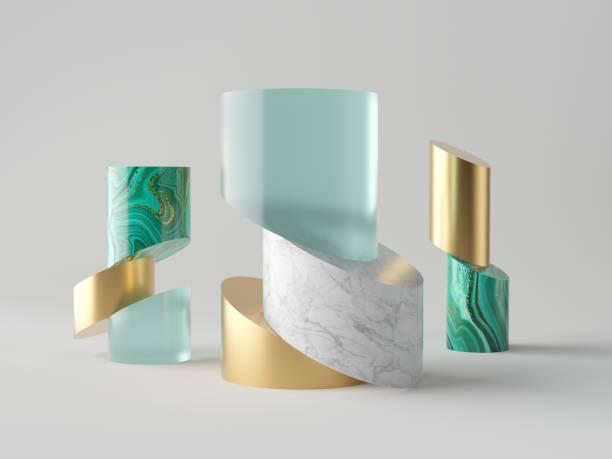 3d abstracte minimale mode achtergrond, cut cilinder buizen, blokken, luxe concept, geïsoleerde objecten, aquamarijn blauw glas, goud metaal, wit marmer, malachiet, eenvoudige schone design, decor elementen - malachiet stockfoto's en -beelden