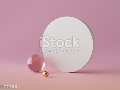 950775710 istock photo 3d abstract modern minimal background, white round canvas isolated on pink, crystal glass ball, golden sphere, geometric decor, fashion minimalistic scene, simple clean design, blank feminine mockup 1170778528