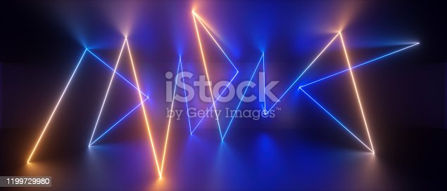 1149518720 istock photo 3d abstract neon background, chaotic line, lightning power, speed of light, trajectory path glowing in ultraviolet light, blue yellow laser rays 1199729980