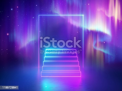 1149518720 istock photo 3d abstract neon background, dreaming metaphor, aurora borealis behind the rectangular portal and steps, ultraviolet spectrum, glowing pink blue light, night starry sky, cosmic space 1199729941