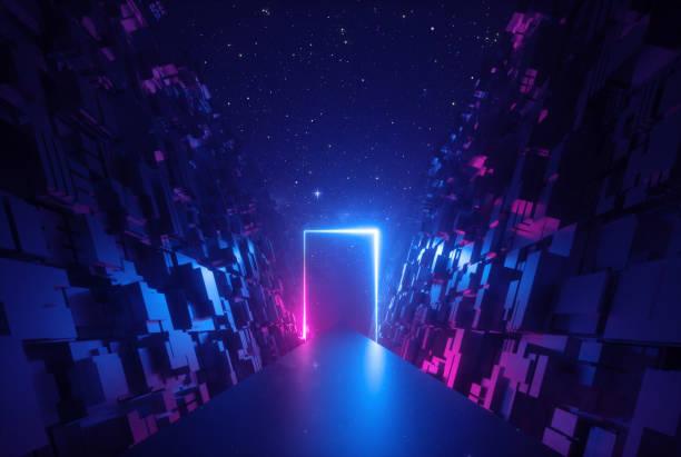 3d 추상 네온 배경, 사이버 공간에서 빛나는 직사각형 프레임, 가상 현실의 환상적인 장면, 밤 하늘 아래 블록의 벽 사이의 도로 - space background 뉴스 사진 이미지
