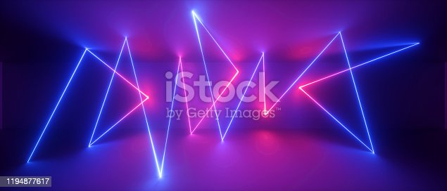 1149518720 istock photo 3d abstract neon geometric background, chaotic lines, trajectory path glowing in ultraviolet light, violet blue red laser rays 1194877617
