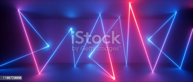 1149518720 istock photo 3d abstract neon light background, chaotic trajectory path glowing in ultraviolet spectrum, violet blue red laser rays 1199729958