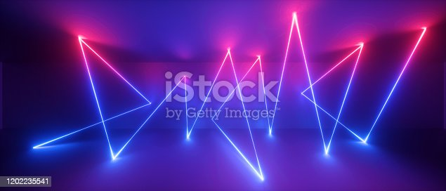 1149518720 istock photo 3d abstract neon light background, geometric lines, chaotic trajectory path glowing in ultraviolet spectrum, violet blue red laser rays 1202235541