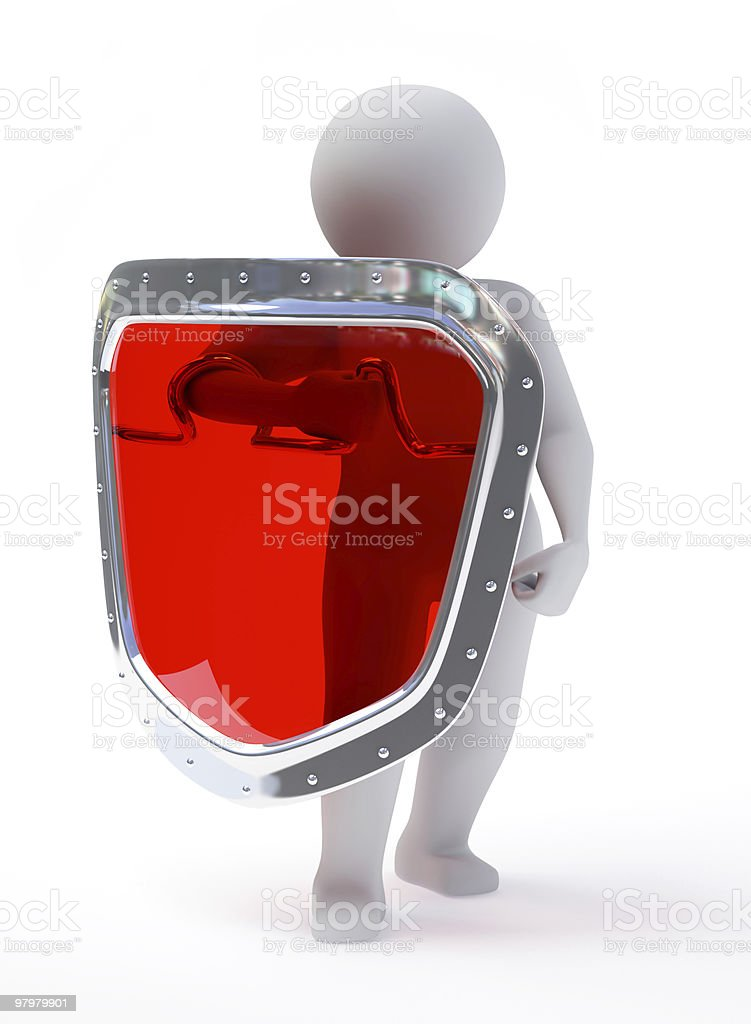3d abstract person in pose of defender with shield royalty-free stock photo