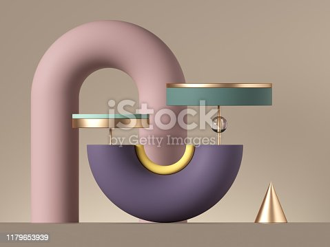 istock 3d abstract postmodern design with assorted geometrical shapes isolated on neutral background. Colorful primitives: cone ball cylinder torus. Round tubes and arch. Blank pedestal or product stand. 1179653939