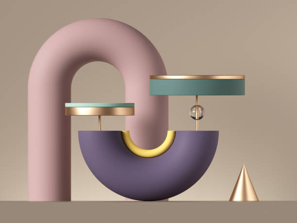 3d abstract postmodern design with assorted geometrical shapes isolated on neutral background. colorful primitives: cone ball cylinder torus. round tubes and arch. blank pedestal or product stand. - balance graphics foto e immagini stock