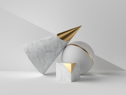 istock 3d abstract primitive shapes on white background, marble and gold cone ball cube, clean minimalist design, sophisticated decor elements, modern geometric objects 1170180876