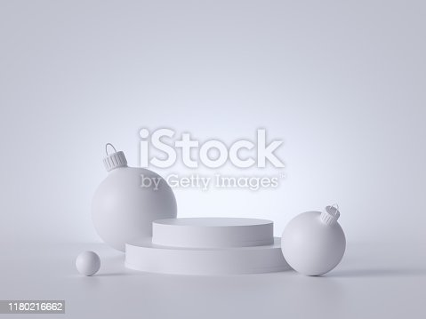 istock 3d abstract white Christmas background with glass balls and empty podium. Round platform, blank pedestal steps, copy space. Product showcase stand mockup. Simple minimal clean style. 1180216662