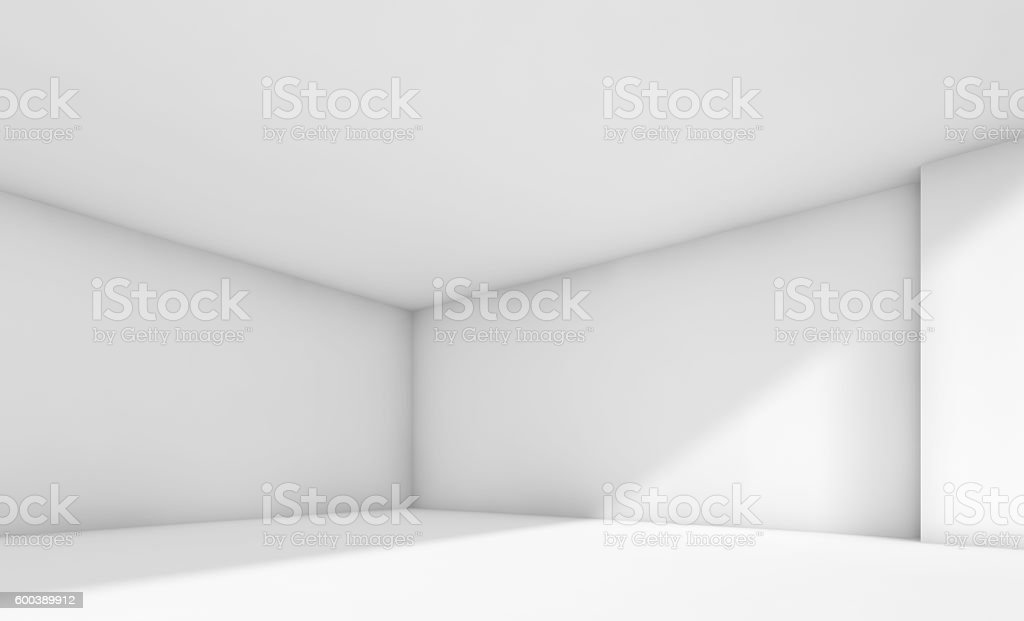 3d abstract white empty room interior stock photo