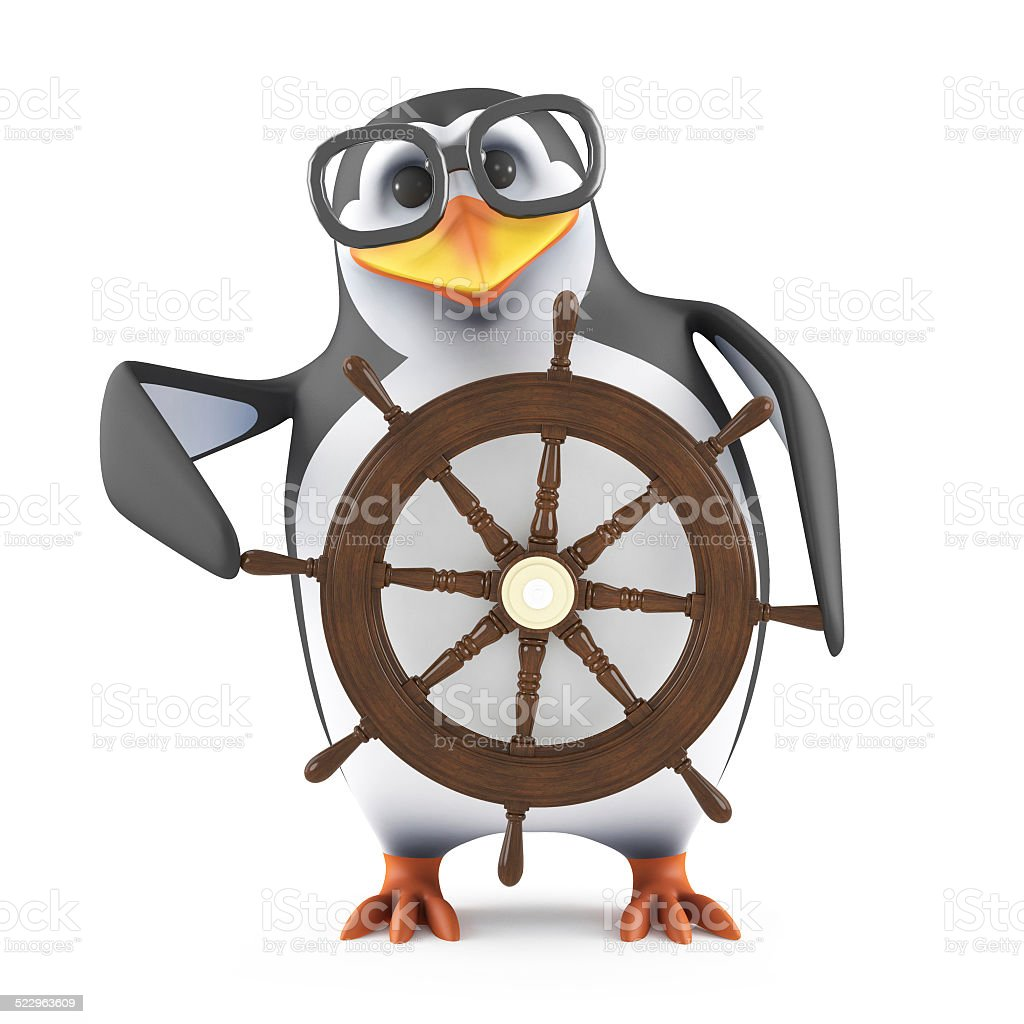 3d Academic penguin steers his ship stock photo