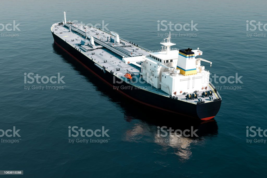 3d Aerial View Of Oil Tanker Ship On Sea Stock Photo - Download