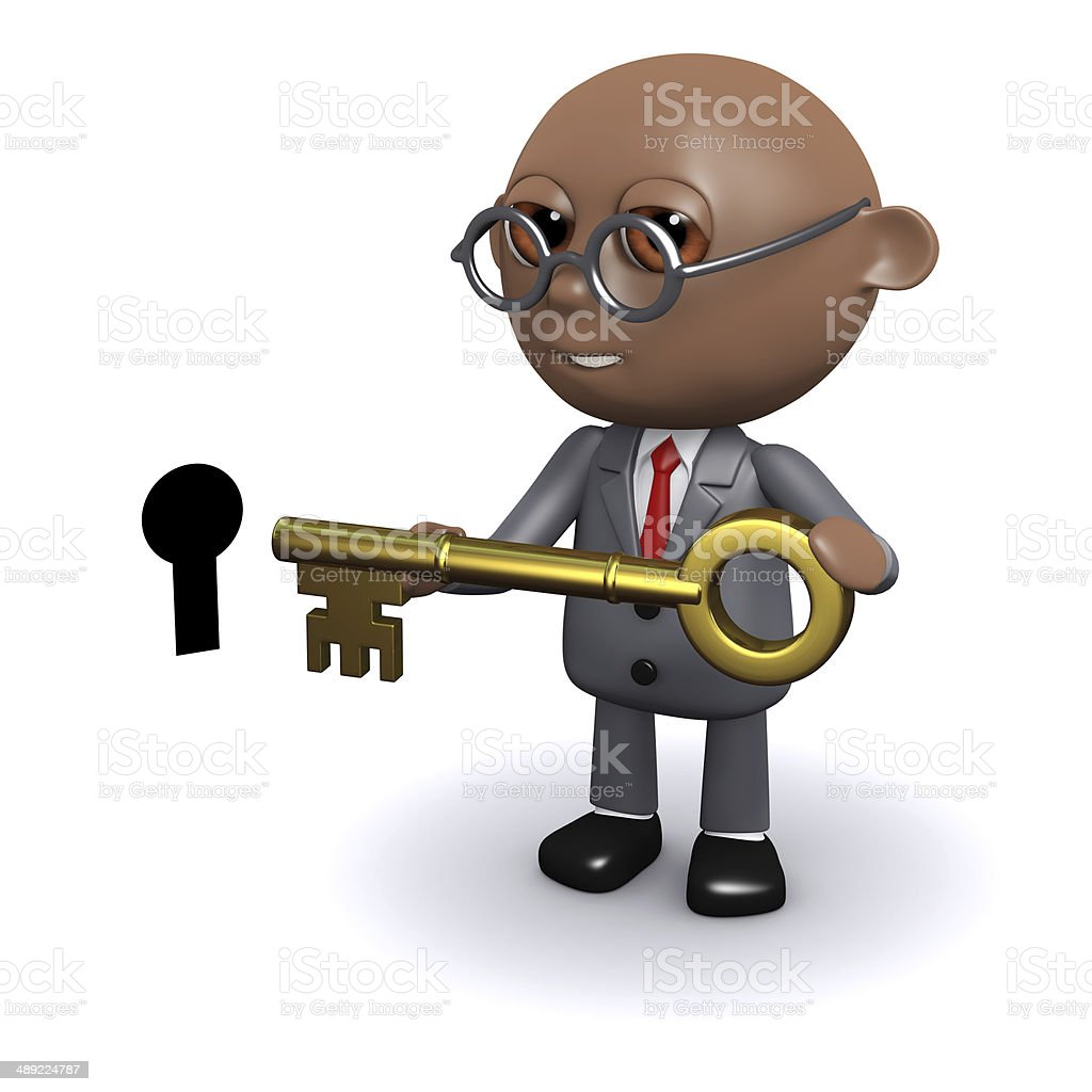 3d African American unlocks the door stock photo