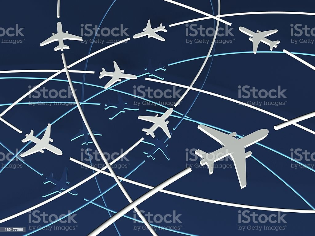 3d Airplane Routes, blue background royalty-free stock photo