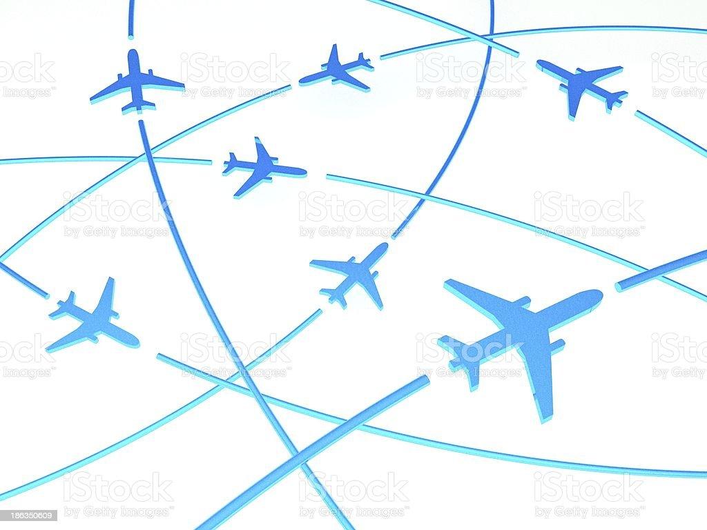 3d Airplane Routes, white background royalty-free stock photo
