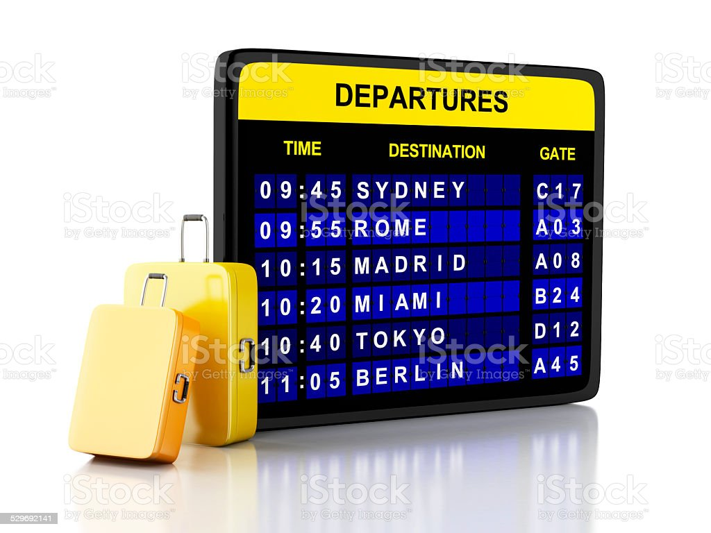 3 d'aéroport à repasser et les valises sur fond blanc - Photo