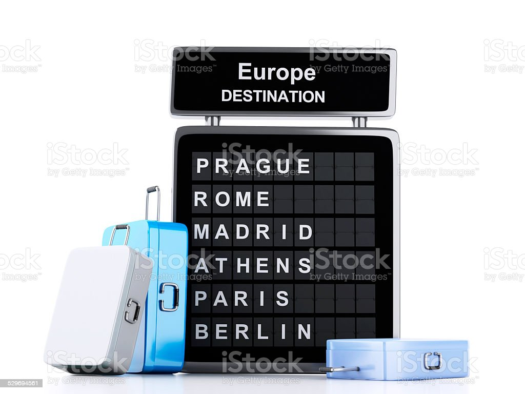 3d airport board and travel suitcases on white background stock photo