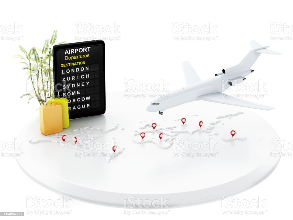 3d airport board, travel suitcases and airplane. stock photo