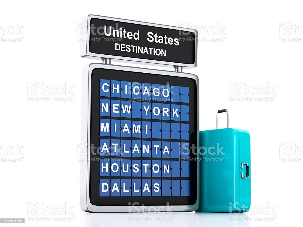 3d airport board. USA travel information on white background stock photo