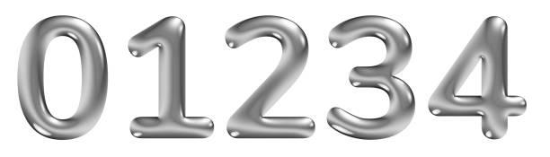 3d-alphabet, geprägte zahlen 0 1 2 3 4 mit chromeffekt, abgerundete schriftart, 3d-illustration - handschriftliche typografie stock-fotos und bilder