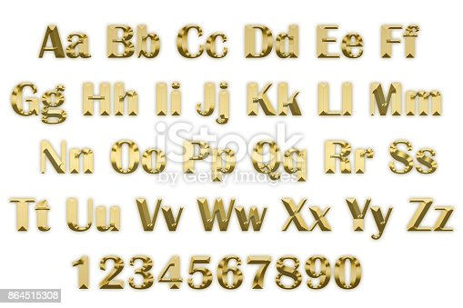 istock 3d alphabet in gold letters on a white background 864515308