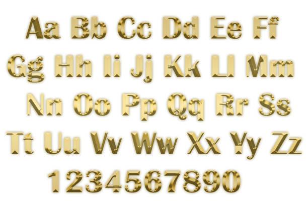 3d alphabet in goldenen lettern auf weißem hintergrund - schöne englische wörter stock-fotos und bilder
