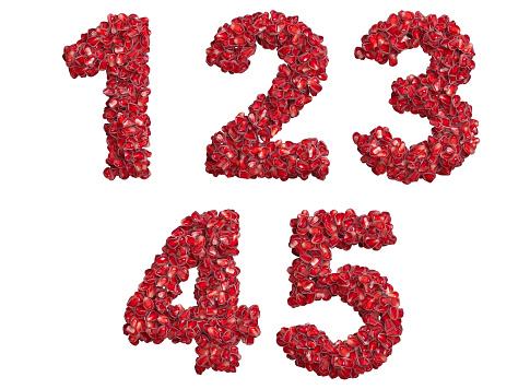 3d alphabet, numbers 12345 made of pomegranate grains, 3d illustration