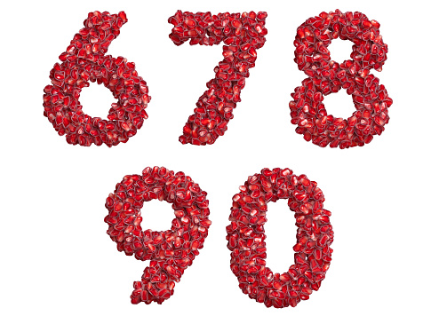 3d alphabet, numbers 67890 made of pomegranate grains, 3d illustration