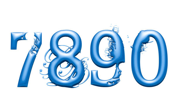 3d alphabet, numbers 7 8 9 0 with water effect, 3d illustration - 8 infographic stock photos and pictures