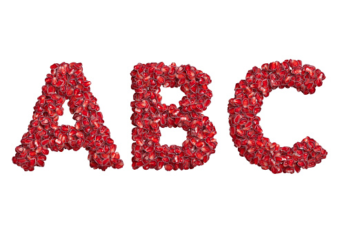 3d alphabet, uppercase letters A B C made of pomegranate grains, 3d illustration