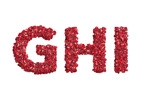3d alphabet, uppercase letters G H I made of pomegranate grains, 3d illustration