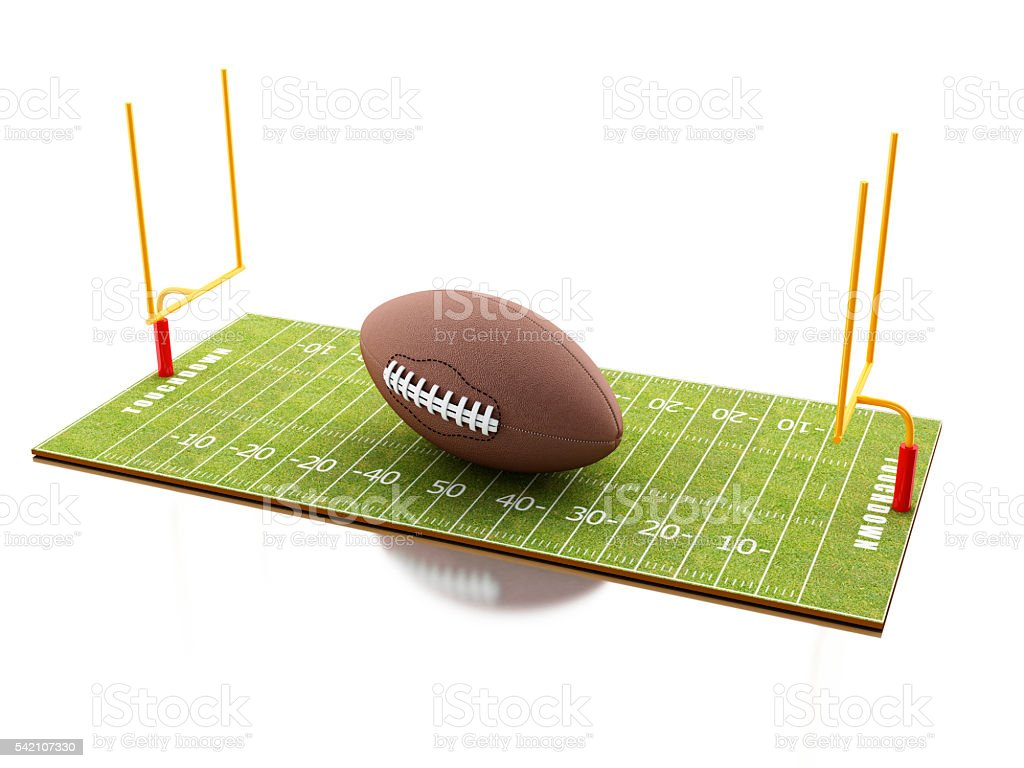 3d American Football field with ball. stock photo