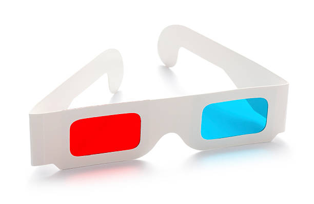 3d anaglyphic stereoscopic cinema glasses isolated on a white background stock photo