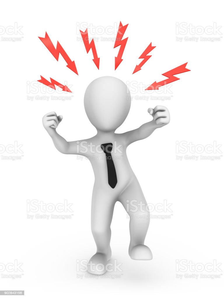 3d angry businessman. Office stress concept. stock photo