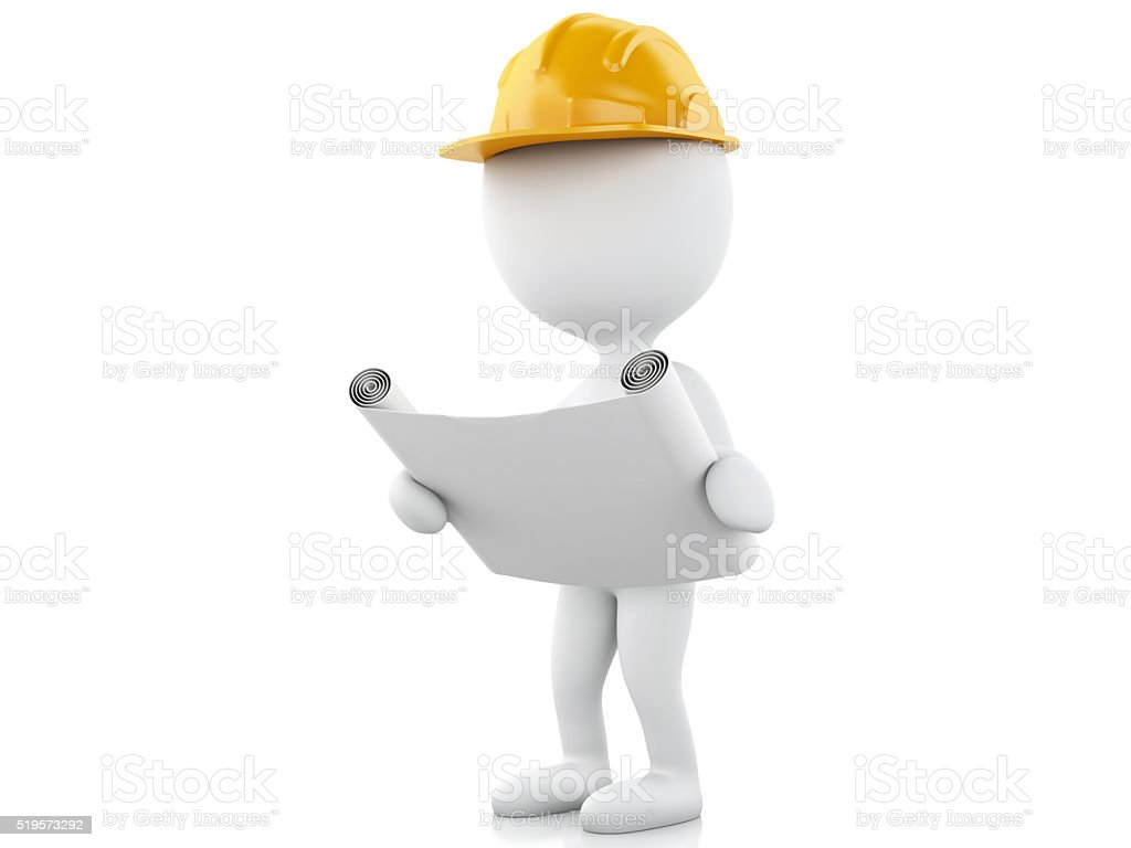 3d architect people with helmet and drawing. stock photo